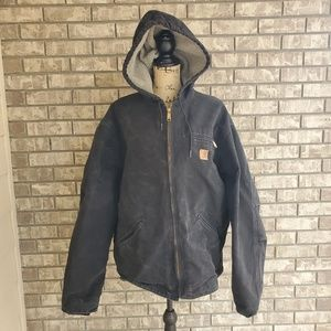 Carhartt heavy coat sherpa lined black mens